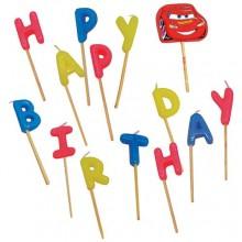 Biler happy birthday lys og en McQueen på pind,