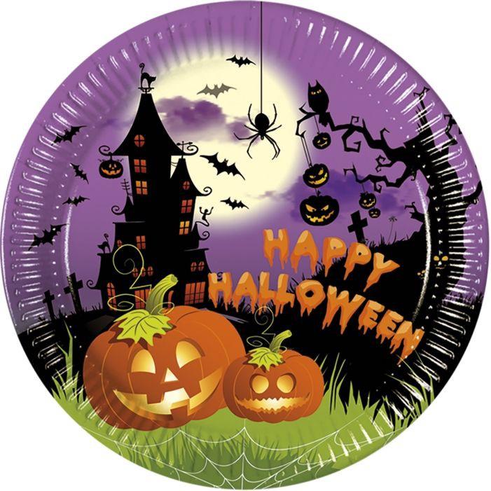 Billede af 8 Stk. Halloween paptallerkner græskar