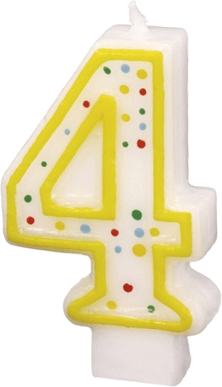 Billede af Fødselsdagslys - Tal: Fødselsdag - 4 års fødselsdag