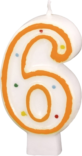 Billede af Fødselsdagslys - Tal: Fødselsdag - 6 års fødselsdag