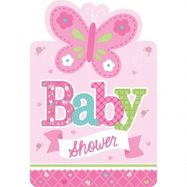 Billede af 8 stk. Baby Shower Invitationer - Pige